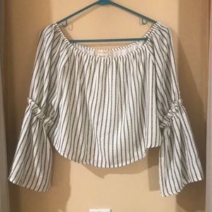 Altered state black and cream striped top Sz S